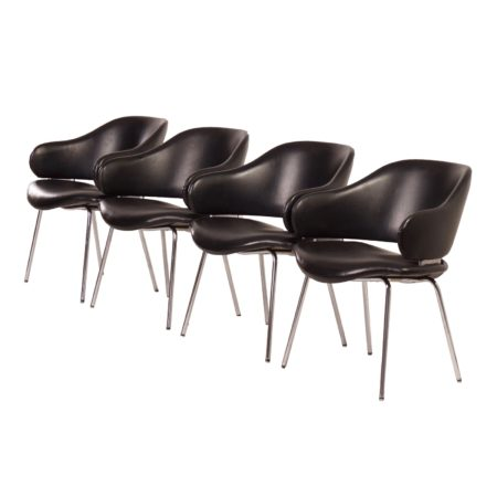 Black Leather Artifort Armchairs by Geoffrey Harcourt for Artifort, 1960s – Set of 4 | Mid Century Design