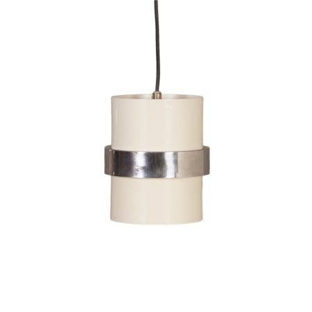White Cylinder Pendant with Decorative Polished Band by Philips, 1970s | Mid Century Design