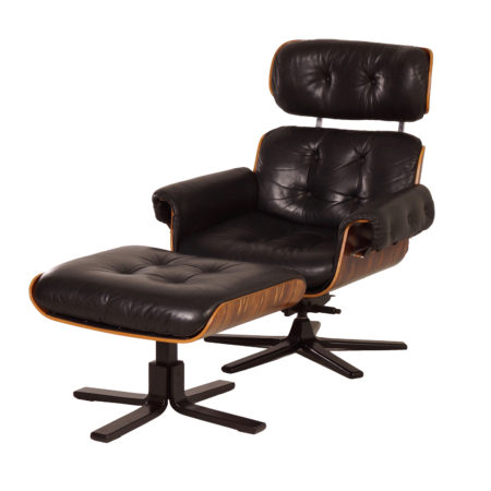 Black Leather Swivel Chair with Footstool by Martin Stoll for Giroflex, 1970s | Mid Century Design
