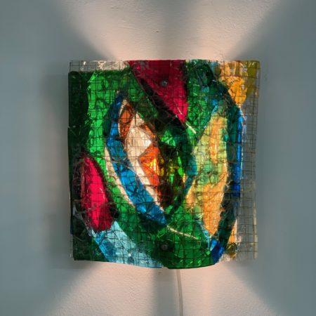 Glass Appliqué Wall Lamp by van Tetterode Glass Studio, 1960s