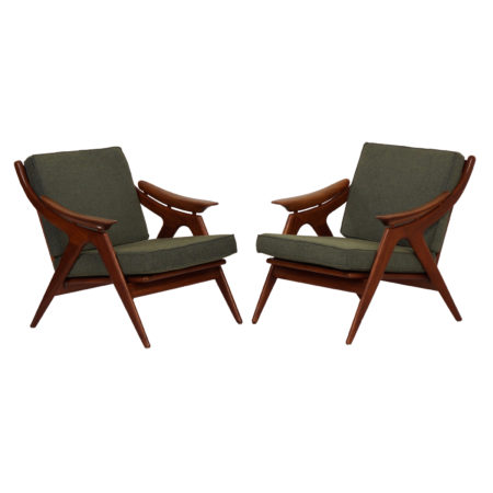Set Teak Armchairs with Green fabric by Topform, 1960s | Mid Century Design