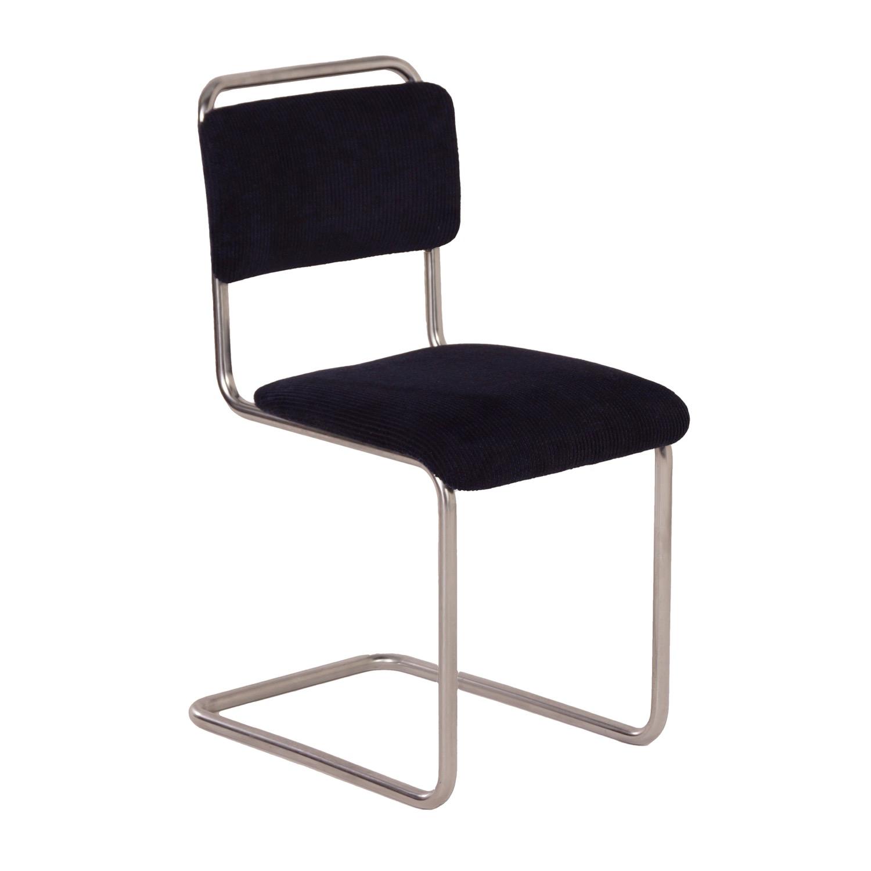 Dutch Design Stoelen Gispen.101 Chair With New Blue Fabric By Gispen 1930s