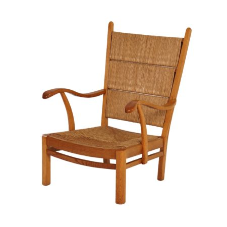 Oak Rush Chair with Curved Armrests, 1930s | Mid Century Design