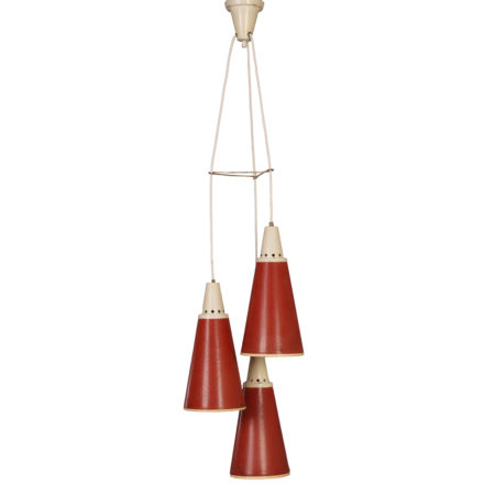 Red Perfolux Pendant by N. Hiemstra for Hiemstra Evolux, 1950s | Mid Century Design