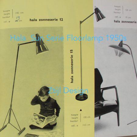 Grey Sun Series Floor Lamp Model 15  by H. Busquet for Hala, 1950s