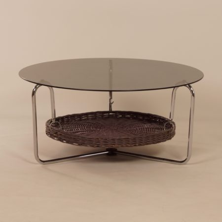 Round Coffee Table of Smoked Glass with Magazine Rack, 1960s