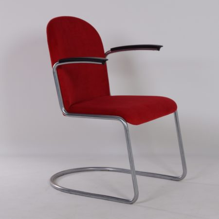 413-R Gispen Chair in New Red Manchester Rib, 1950s