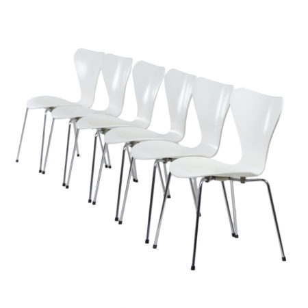 Set White Butterfly Chairs by Arne Jacobsen for Fritz Hansen, 1950s | Mid Century Design