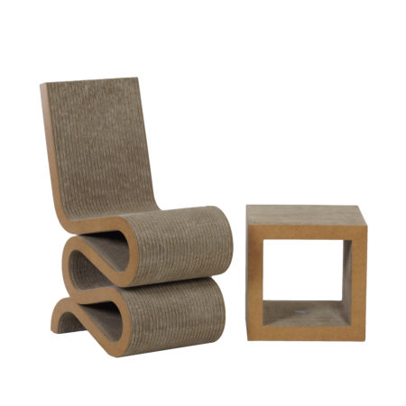 Wiggle Chair and Side Table by Frank O. Gehry for Vitra, 2000s | Mid Century Design