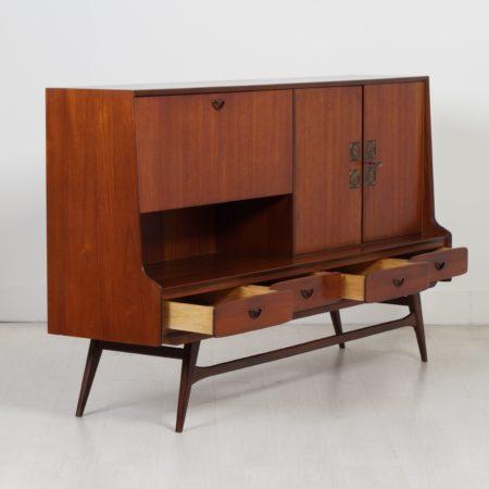 Teak Higboard by Louis van Teeffelen for Webé, 1960s – With Tiles from Ravelli