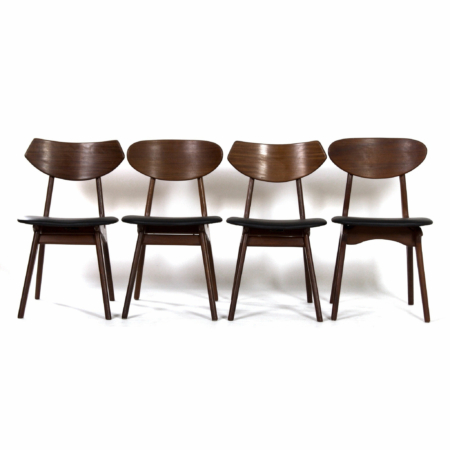 Teak Dining Chairs by Louis van Teeffelen for Awa, 1960s – New Black Leather | Mid Century Design