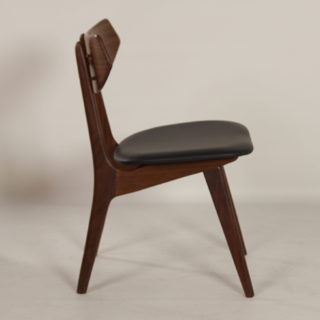 Teak Dining Chairs by Louis van Teeffelen for Awa, 1960s – New Black Leather