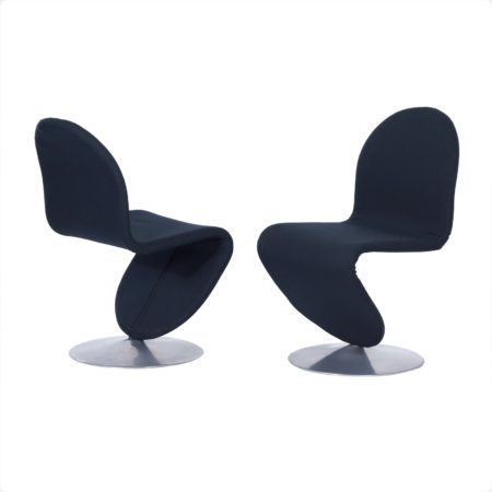 System 123 Chairs by Verner Panton for Fritz Hansen, 1970s, Set of 2 in New Black Fabric | Mid Century Design