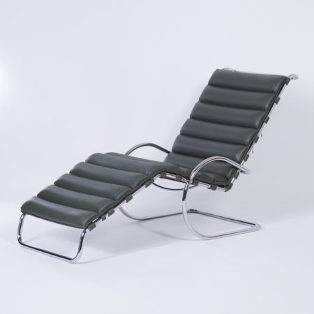 MR Chaise Longue by Mies van der Rohe for Knoll, 2000s, Green Leather