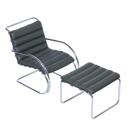 MR Lounge Chair with Hocker by Mies van der Rohe for Knoll, 2000s | Mid Century Design