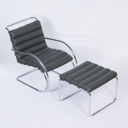 MR Lounge Chair with Hocker by Mies van der Rohe for Knoll, 2000s