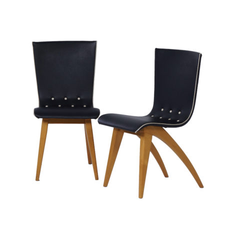 Dutch Dining Chairs in Bent Maple Wood by Van Os, 1950s – Set of Two | Mid Century Design