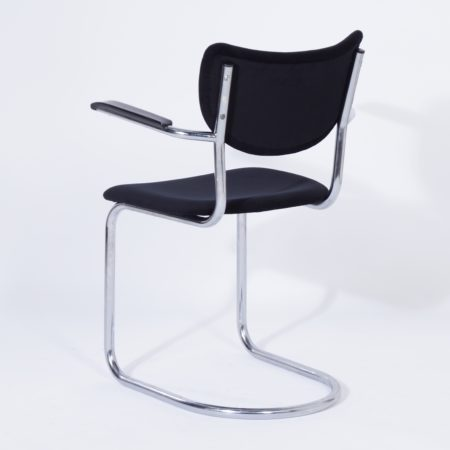 Cantilever Chairs 3011 by De Wit, 1950s – Set of 4 in New Black Rib Fabric