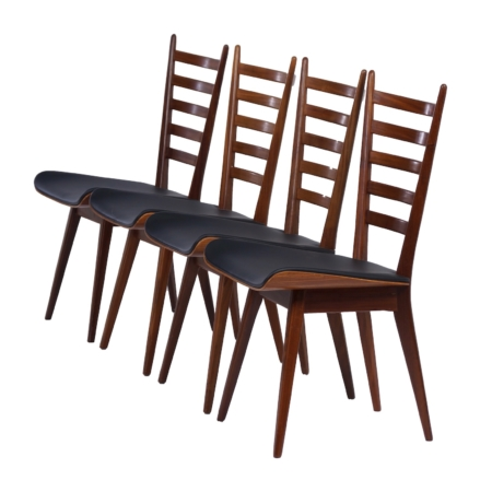 Teak Dining Chairs with New Black Leather, 1960s – Set of 4 | Mid Century Design