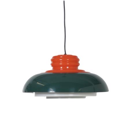 Seventies Hanging Lamp by Dijkstra Lampen in Orange and Green | Mid Century Design