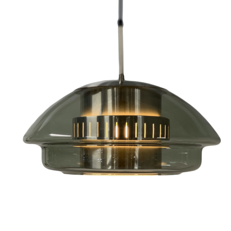 Glass Hanging Lamp by Dijkstra Lampen, 1970s – Aluminum Inside | Mid Century Design