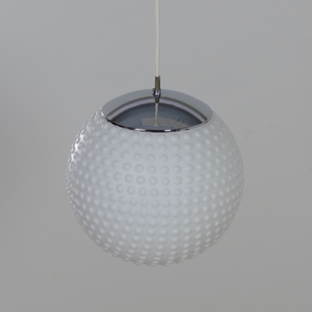 White Opal Glass Pendant by Rolf Krüger for Staff, 1960s