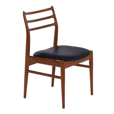 Danish Dining Chair in Teak and Black Leather, 1960s