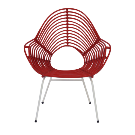 Red Rattan Chair by Rohe Noordwolde, 1960s. | Mid Century Design