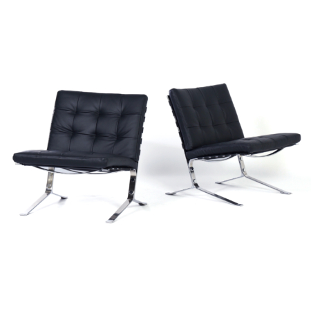 Joker Lounge Chairs by Olivier Mourgue for Airborne 60s – Set of 2 in New Black Leather | Mid Century Design