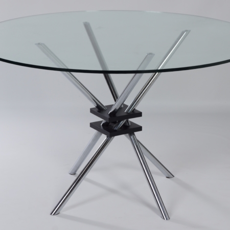 Round Glass Dining Table with Chrome Plated Frame, Italy 1970s