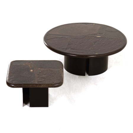 Set Brown Coffee Table's by Paul Kingma, 1989/90 | Mid Century Design