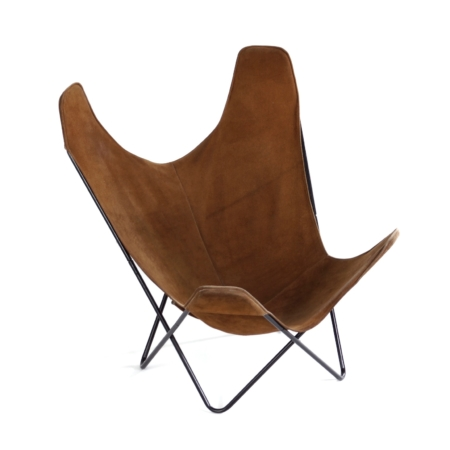BKF Butterfly Chair by Jorge Ferrari-Hardoy, Juan Kurchan and Antonio Bonet, 1970s – Brown Suede | Mid Century Design