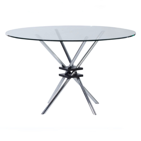 Round Glass Dining Table with Chrome Plated Frame, Italy 1970s | Mid Century Design