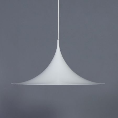 White Semi Pendant by Bonderup and Thorup for Fog Morup, 1960s | 60 cm