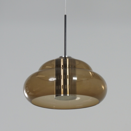 Vintage Hanging Lamp with Perforated Metal Interior by Dijkstra Lamps, 1970s