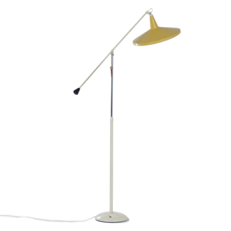 Yellow Panama Floor Lamp model 6350 by Wim Rietveld for Gispen, 1957 | Mid Century Design