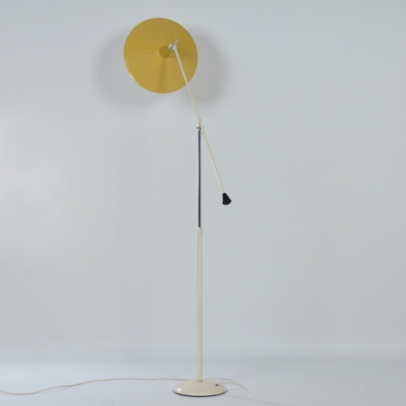 Yellow Panama Floor Lamp model 6350 by Wim Rietveld for Gispen, 1957