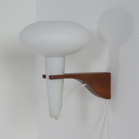 Wall Lamp Mushroom in Teak and White Glass by Artimeta, 1960s