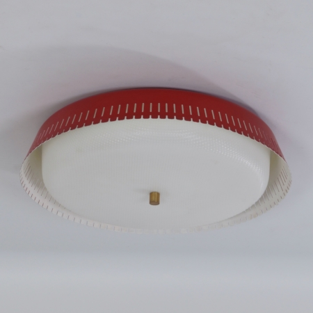 Red Bent Karlby Ceiling Lamp for Indoor, 1960s – Largest Version