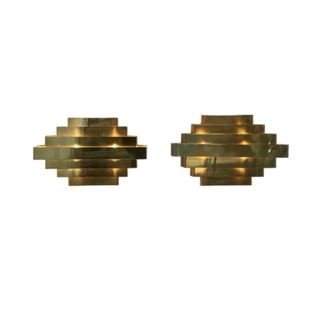 Pair Brass Wall Lamps in the style of Jules Wabbes, 1970s | Mid Century Design