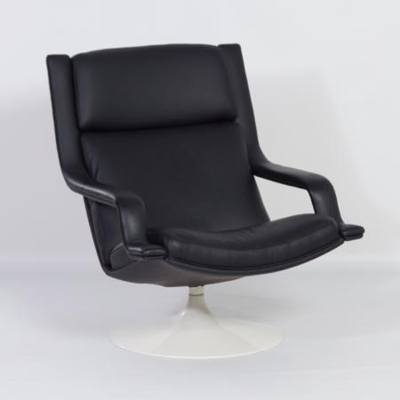F140 Swivel Chair in Black by Geoffrey Harcourt for Artifort in 1970s