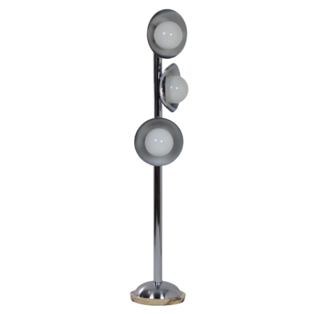 Italian Mid Century Floor Lamp with 3 Light Shades, 1970s – Chrome and Marble | Mid Century Design