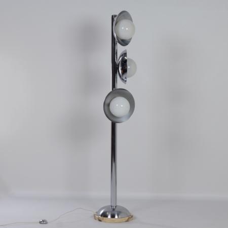 Italian Mid Century Floor Lamp with 3 Light Shades, 1970s – Chrome and Marble