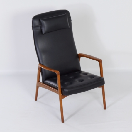 Danish Armchair in Teak and Black Artificial Leather, 1970s – Mid-Century
