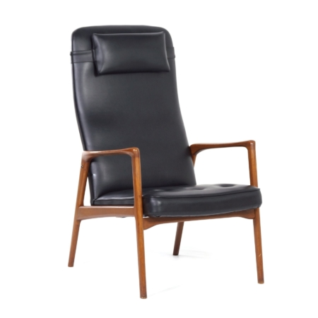 Danish Armchair in Teak and Black Artificial Leather, 1970s – Mid-Century | Mid Century Design