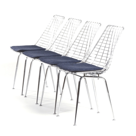 Flamingo Wire Chairs by Braakman and Dekker for Pastoe, 1960s – Set of 4 | Mid Century Design