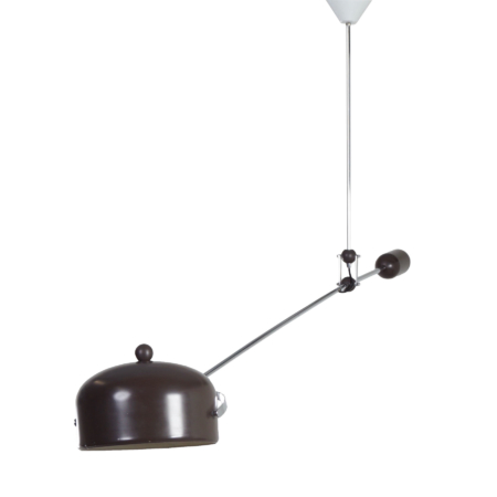 Brown Counterbalance Lamp by J.J.M. Hoogervorst for Anvia in 1960s | Mid Century Design