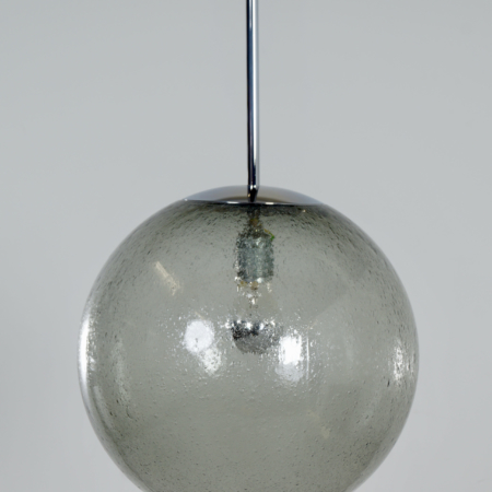 Pair Hanging Lamps in Bubble Glass by Peill & Putzler, 1970s