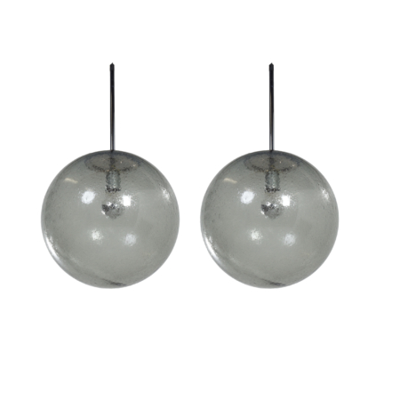 Pair Hanging Lamps in Bubble Glass by Peill & Putzler, 1970s | Mid Century Design