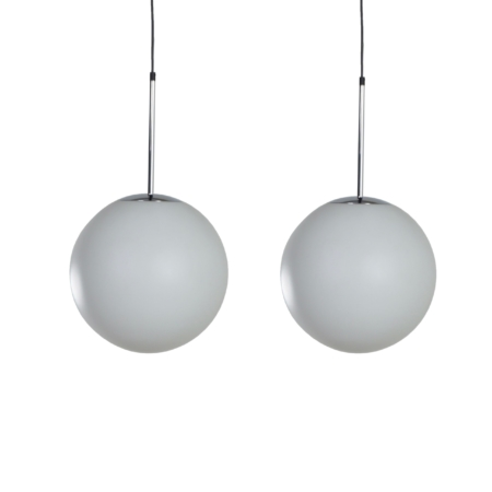 Pair of Satin Glass Pendants by Peill & Putlzer, 1970s | Mid Century Design